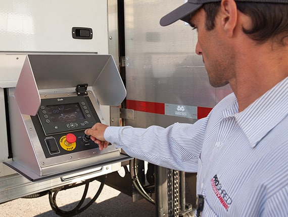 Service Tech powering on shredding truck