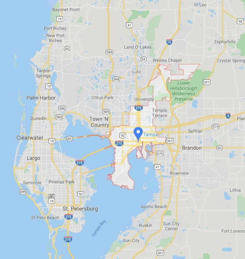 Tampa coverage map